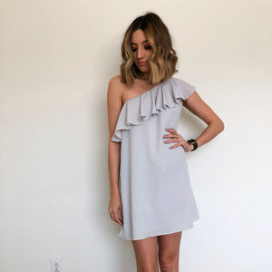 French Connection Gray One Shoulder Ruddle Dress